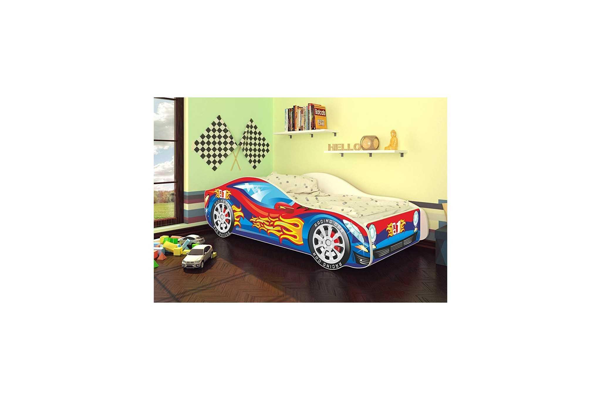 Best For Kids Autobett Kinderbett Bett Auto Car Junior in vier Farben mit  Lattenrost und Matratze 70x140 cm Top Angebot! (Rot-Blau)