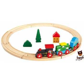 Leomark Holzeisenbahn Spielzeugeisenbahn-Set