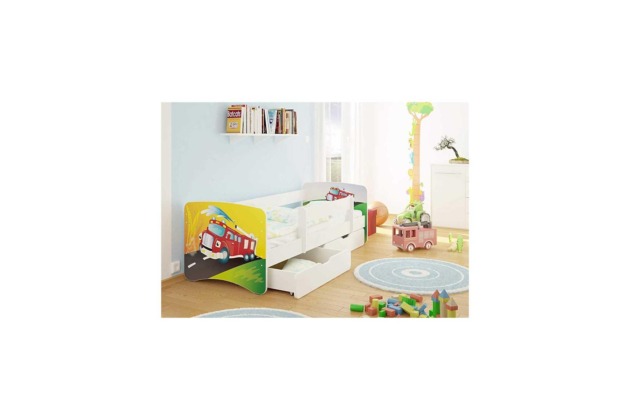 Best For Kids Kinderbett Mit Rausfallschutz 2 Schubladen Lattenrost 10 Cm Matratze Tüv Zertifiziert Kinderbett Für Mädchen Und Jungen In 4 Größen