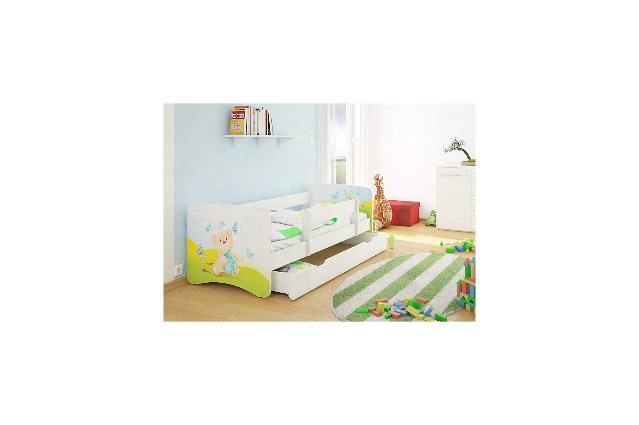 Best For Kids Kinderbett Mit Rausfallschutz Schublade Lattenrost 10 Cm Matratze Tüv Zertifiziert Kinderbett Für Mädchen Und Jungen In 3 Größen Viele