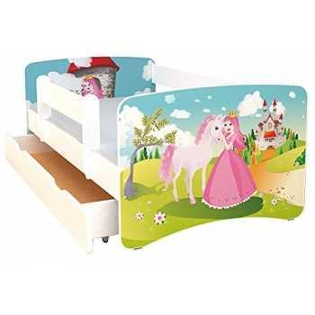 Best For Kids Kinderbett 70x160 mit Rausfallschutz bunte...