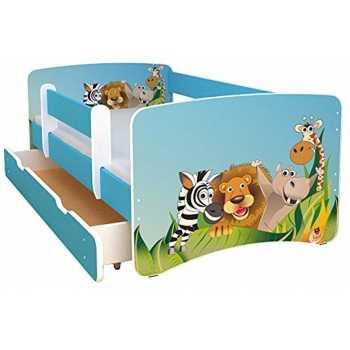 Best For Kids Kinderbett 90x160 mit Rausfallschutz bunte...