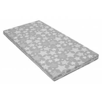 Best For Kids Babymatratze 60x120x6 cm Bezug 100% kuschelweiche Baumwolle (Grau Sterne)